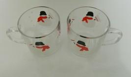 Crate & Barrel USA Luminarc Snowmen with Broom Glass Cups / Mugs Clear L... - $14.73