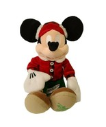 WALT DISNEY STORE MICKEY MOUSE 2017 RED PLAID 15 INCH PLUSH WINTER  - $16.24