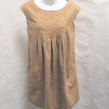H&M 6 Shift Dress Brown Pockets Pintuck Pleated - $19.58