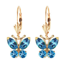 1.24 Carat 14K Solid Gold Butterfly Earrings Blue Topaz Natural Gemstone Womens - $350.19