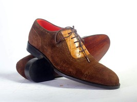 Handmade Men's Chocolate Brown Suede & Leather Lace Up Dress/Formal Shoes image 1