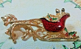 """Vintage Jewelry: 2""""  Christmas Sleigh Pulled By Horse Broach  2016110524 - $7.91"""