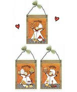 Italian Chef Pictures Cooks Orange Kitchen Pasta Decor Wall Hangings Pla... - $7.99+
