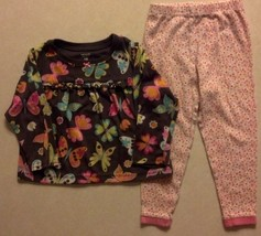 Girl's Sz 18 M Months Two Pc Carter's Pajama Set Brown Butterfly Top & P... - $13.10