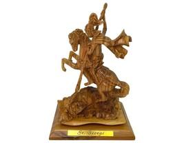 Saint George hand carved olive wood, St. George Artistic Statue, Slaying... - $799.99