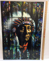 Native American Indian Chief Portrait Metal Art Picture 35x23 Signed Flores - $197.01