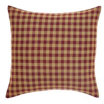 "Burgundy Check - Farmhouse Pillow - 16x16"" - VHC Brands"