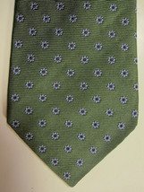 NEW Brooks Brothers Green With Small Blue and Copper Flowers Silk Tie Ma... - $38.99