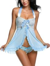 Women Nightwear Lace Babydoll Strap Chemise Halter Lingerie Set image 10