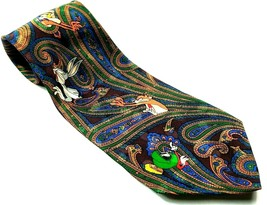 Looney Tunes Mania Bugs Bunny Taz Marvin Martian Men's Paisley Tie Novelty - $12.75