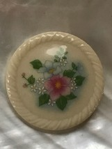 Vintage Avon Signed Round Cream Ceramic with Pink & Blue Flowers Pin Bro... - $6.79