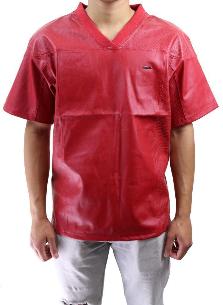 BRAND NEW KITE MEN'S PREMIUM MESH FAUX LEATHER BASEBALL JERSEY SHIRT RED