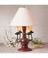 COLONIAL TABLE LAMP & IVORY SHADE Distressed COUNTRY RED w/ 3 Light Opti... - $372.95
