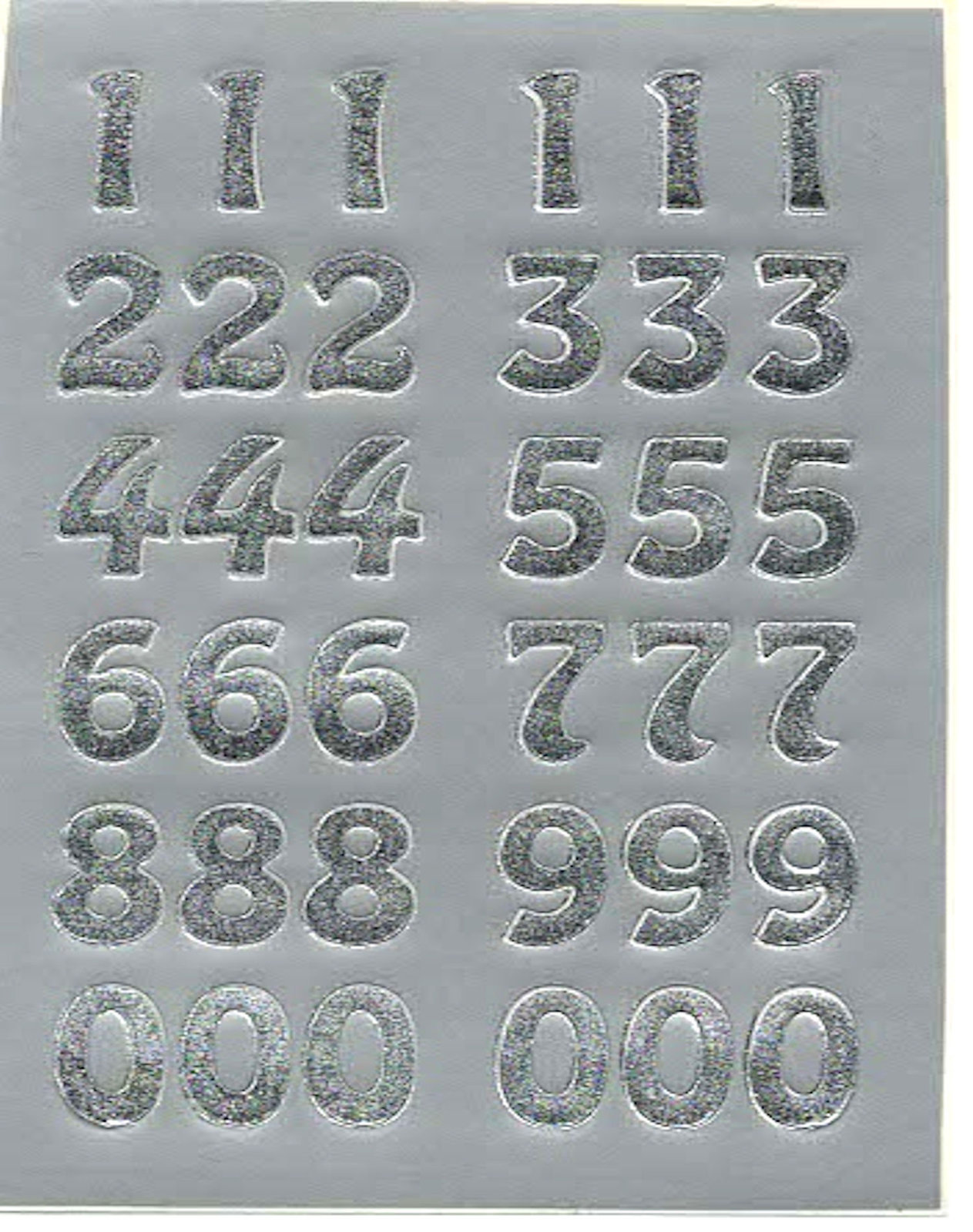 silver numbers sheet of peel off stickers  ideal cards, papercraft, displays, sc
