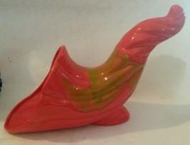 Mid Century DeForest of California Atomic Orange Cornacopia Ceramic Horn... - $61.33