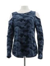 Women with Control Cold Shoulder Camo Printed Top Navy XL NEW A279568 - $21.76