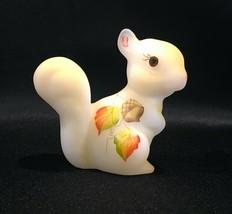 Fenton Burmese Satin Hand Painted Squirrel & Acorns Signed Logo & Origin... - $89.99