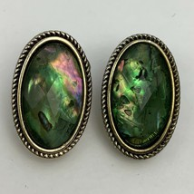 Napier Faceted Cabochon Abalone Underlay Clip On Earrings Silver Tone Oval - $15.80