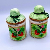VTG Coffee Tea Canisters Jars Strawberries Green Sun Hat Table Size Cera... - $19.79