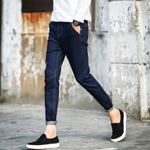 Spring Men's Casual Jeans Slim Pants Black Dark blue - $27.54