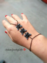 Slave Bracelet Black Butterfly Trio Hand Chain Butterfly Slave Bracelet ... - $46.00