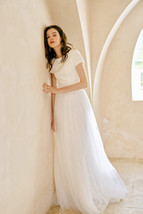 Gray High Waisted Maxi Tulle Skirt Wedding Tulle Skirt with Train Plus Size WM12 image 10