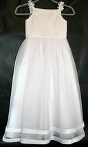 David's Bridal White Flower Girl Wedding Dress size 6 EUC Satin Sheer Layer - $16.80