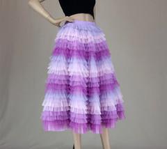 Hot Pink Purple Gray Purple Women Tier Tulle Skirts Mesh Skirt Full Midi Skirts image 2