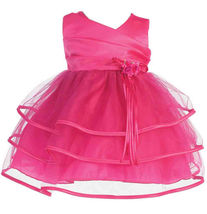 Sweet Baby Girl Posh Fuchsia or Pink/White Flower Girl Pageant Party Dress - $32.99