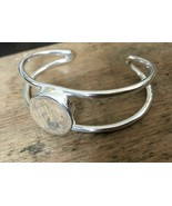 Vintage stamped Mexico Thick 925 Sterling Silver Cuff Bracelet for engra... - $49.49