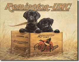 Remington UMC Black Labs Puppies Metal Sign Tin New Vintage Style USA #932 - $10.29
