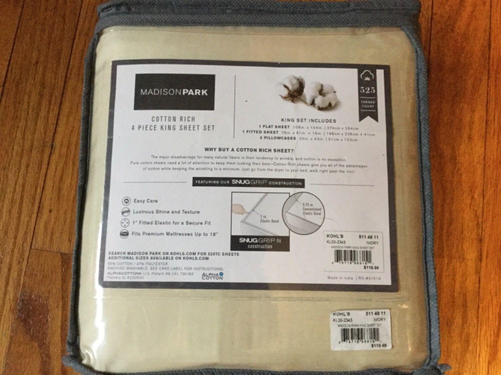 Madison Park 525 tc Cotton Rich Sheet Set Ivory KING