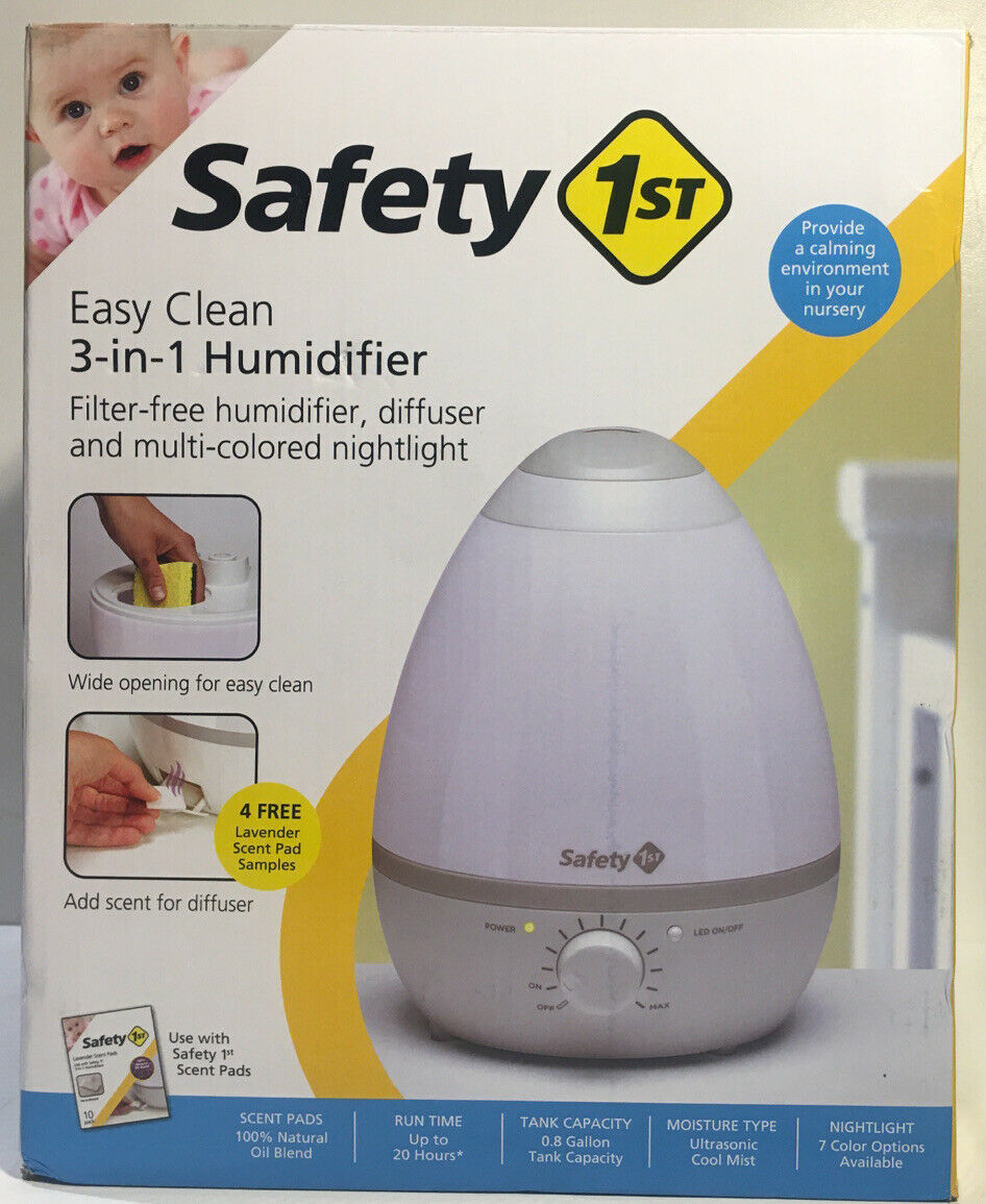 Safety 1st Easy Clean 3-in-1 Humidifier, Multi-Colored Nightlight White/Grey NEW - $48.98