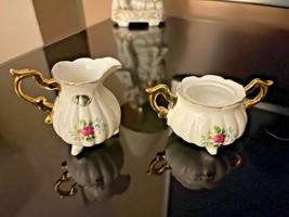 Vintage Bone China Mini Creamer and Sugar Set Hand Painted Pink Roses - $14.85