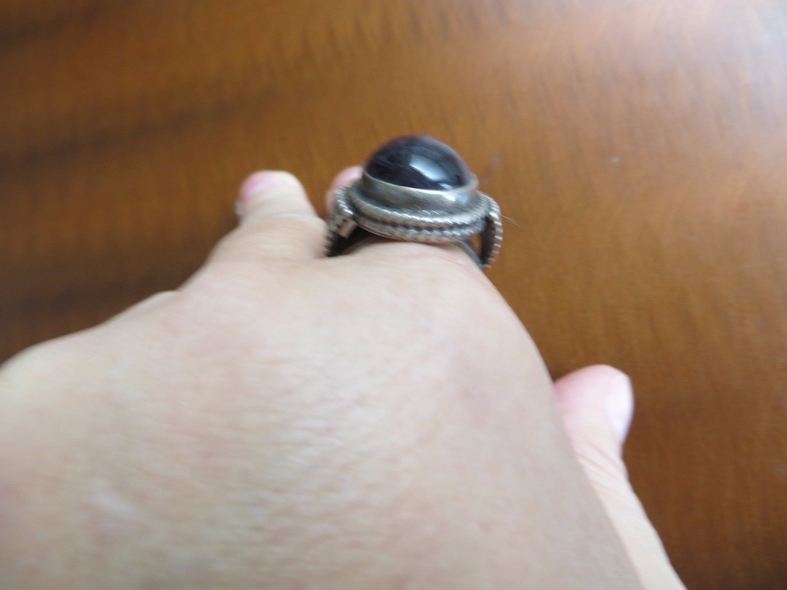 Old Tribal Sterling Silver Purple Amethyst Beaded Ring Rajasthan India Size 8.25