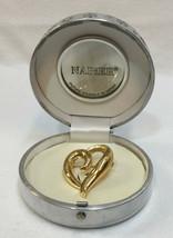 "Brooch Pin Heart Shaped Napier Gold Tone Metal in Original Box 1.5"" Curvy - $18.80"