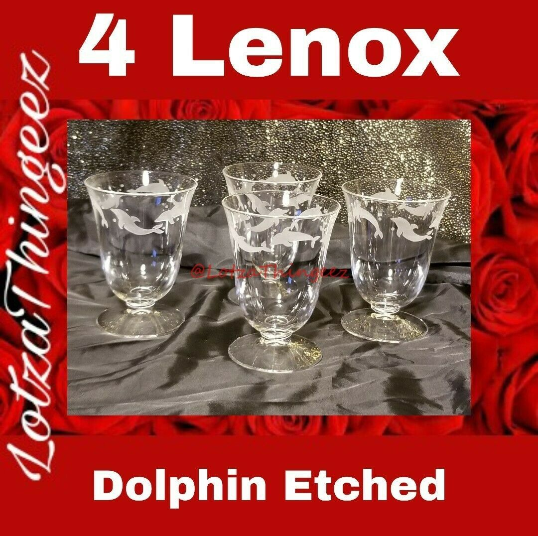 Lenox Etched Dolphin Tumblers Set of 4 Crystal Footed 8 oz 4 3/8""