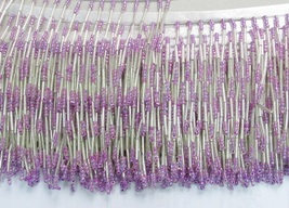 "HANDMADE 38"" W CRAFT GARMENT ACCESSORIES;NEW ALL GLASS FLAT BEADED FRING... - $10.50"