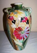 """1920s SATSUMA VASE 10"""" Art Nouveau JAPANESE Floral Design Slip/Moriage Deco - $37.46"""