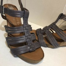 franco sarto Taupe Purple strappy cage leather heels Size 10.5 image 2