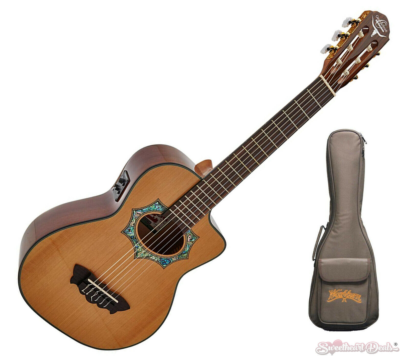 oscar schmidt oh30sce requinto acoustic electric guitar free deluxe gig bag acoustic electric. Black Bedroom Furniture Sets. Home Design Ideas