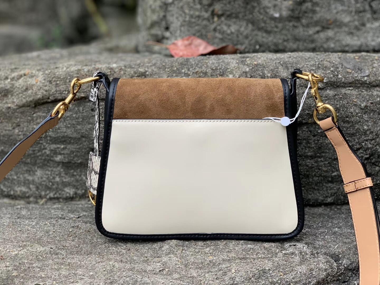 Tory Burch Bennett Mixed-Materials Small Saddle Bag