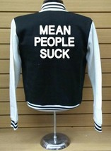 Mean People Suck Letterman Varsity Baseball BLACK/WHITE Fleece Jacket - $29.69