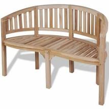 vidaXL Solid Teak Wood Bench Banana Shape 2-Seater Outdoor Garden Chair Seat image 2