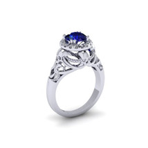 White Gold Plated 925 Sterling Silver Blue Sapphire Wedding Skull Women'... - $135.56 CAD