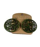 Green Tree Jewelry Circles N' Circle Earrings Kelly Green Wood Wooden Ea... - $9.99