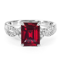 Rectangular Shape Red Garnet Infinity Ring 14k White Gold Plated 925 Pur... - $81.99