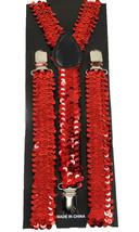 """Unisex Clip-on Braces Elastic Suspender """"Red Sequin"""" Y-Back Suspender - $3.95"""