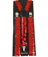 "Unisex Clip-on Braces Elastic Suspender ""Red Sequin"" Y-Back Suspender - $3.95"