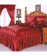 Bright Burgundy Diamonds Sateen Winter Bedspread Set KING SIZE 5PCS - $121.28